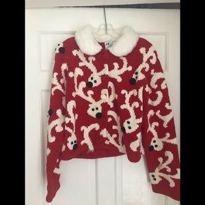 Vtg Michael Simon Christmas Reindeer Sweater Large